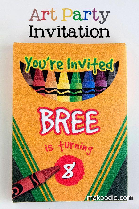 Pinterest Inspired Birthday Parties – Art Party Invite