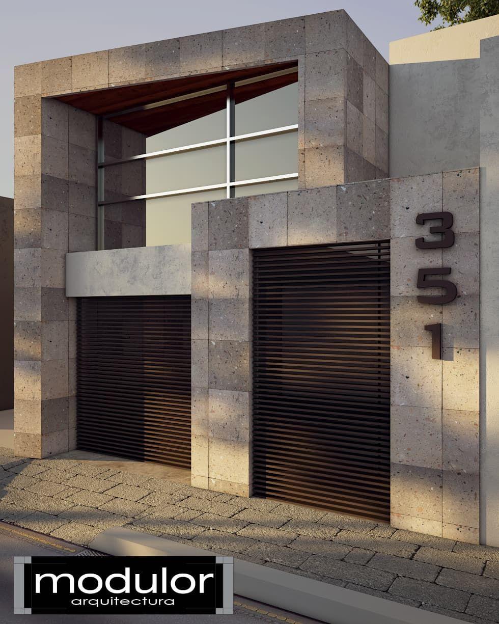 Fachada pina casas de estilo moderno por modulor arquitectura