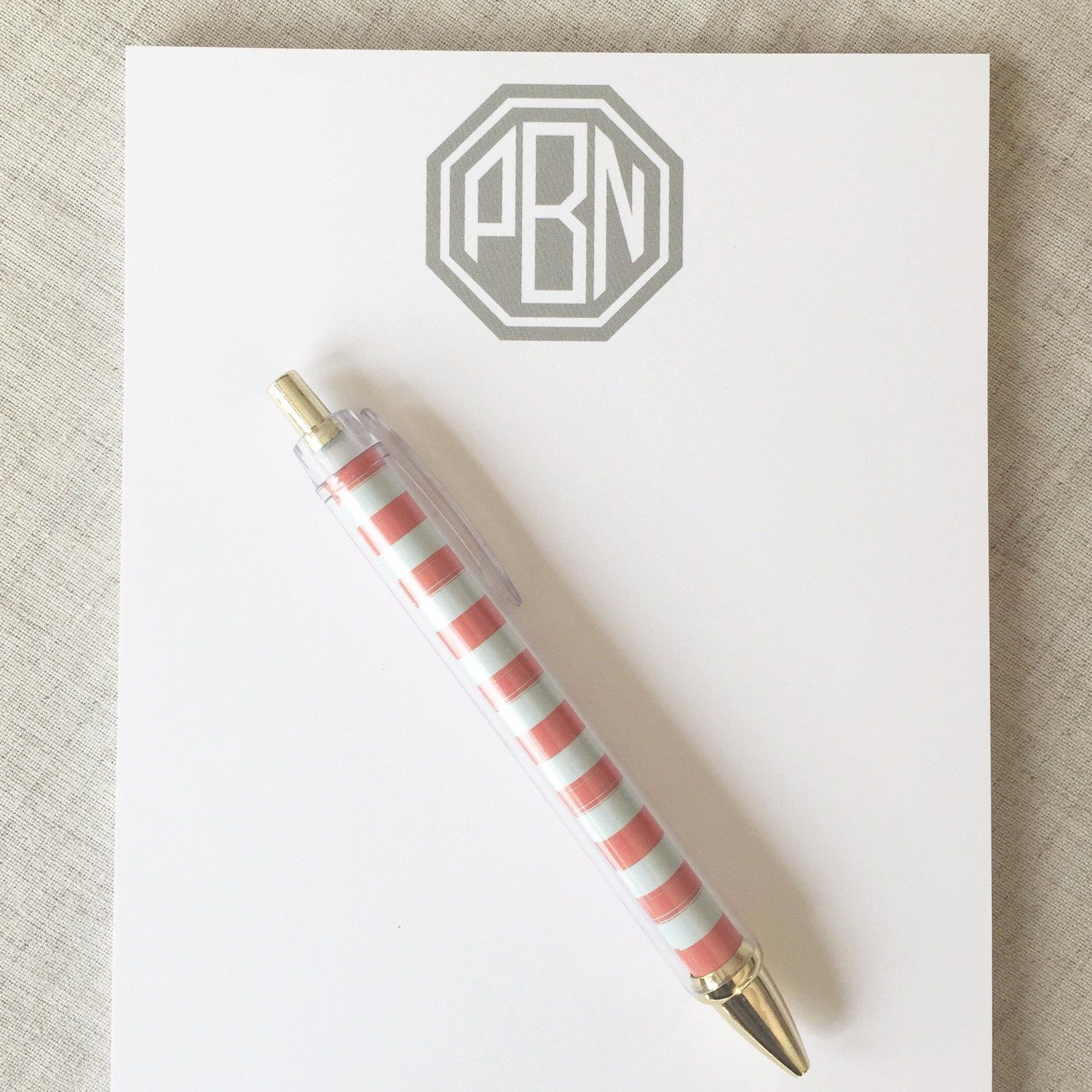 Monogram notepads are perfect for moms and teachers. Last day to order gifts for moms is April  25!