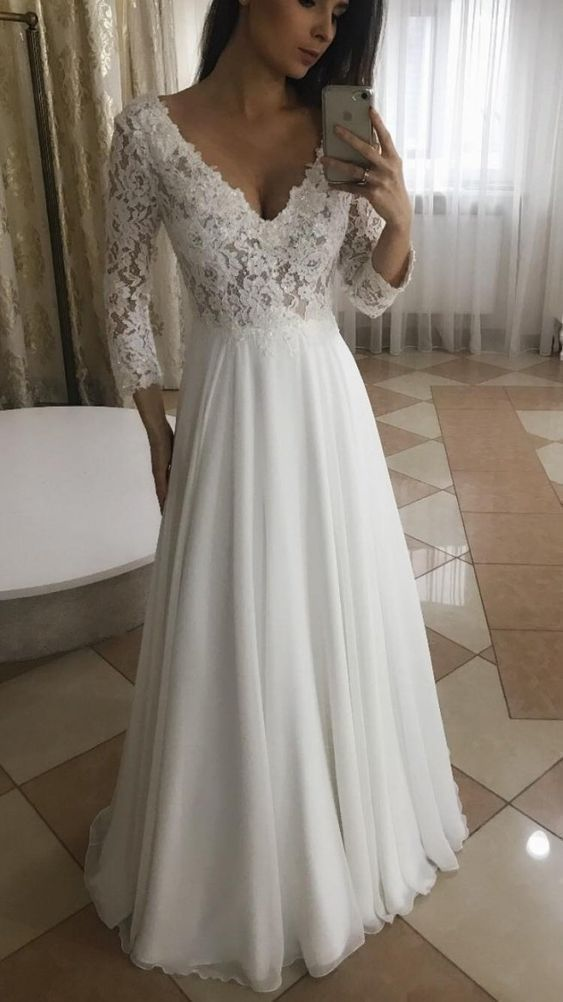 Elegant A Line V Neck Long Sleeves White Lace Long Wedding Dresses