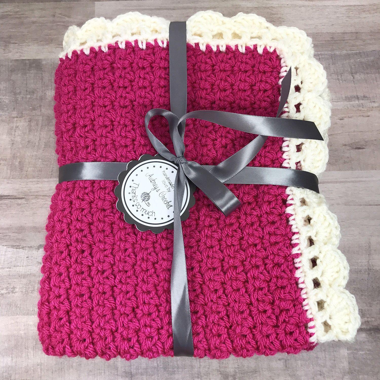 Crochet baby blanket, baby blanket, pink baby blanket