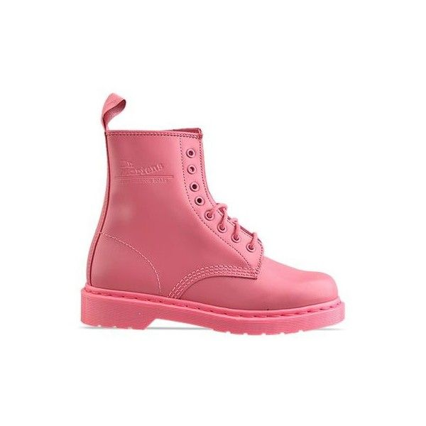 Dr. Martens - 8 Eye Boot (€105) ❤ liked on Polyvore featuring shoes, boots, dr. martens, botas, pink, pink rose, long shoes, pink shoes, stitch shoes and long boots