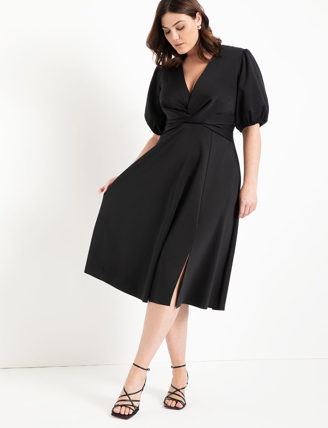 Puff Sleeve Fit And Flare Dress Women S Plus Size Dresses Eloquii Plus Size Maxi Dresses Plus Size Dresses Bridesmaid Dresses Plus Size [ 1366 x 1050 Pixel ]