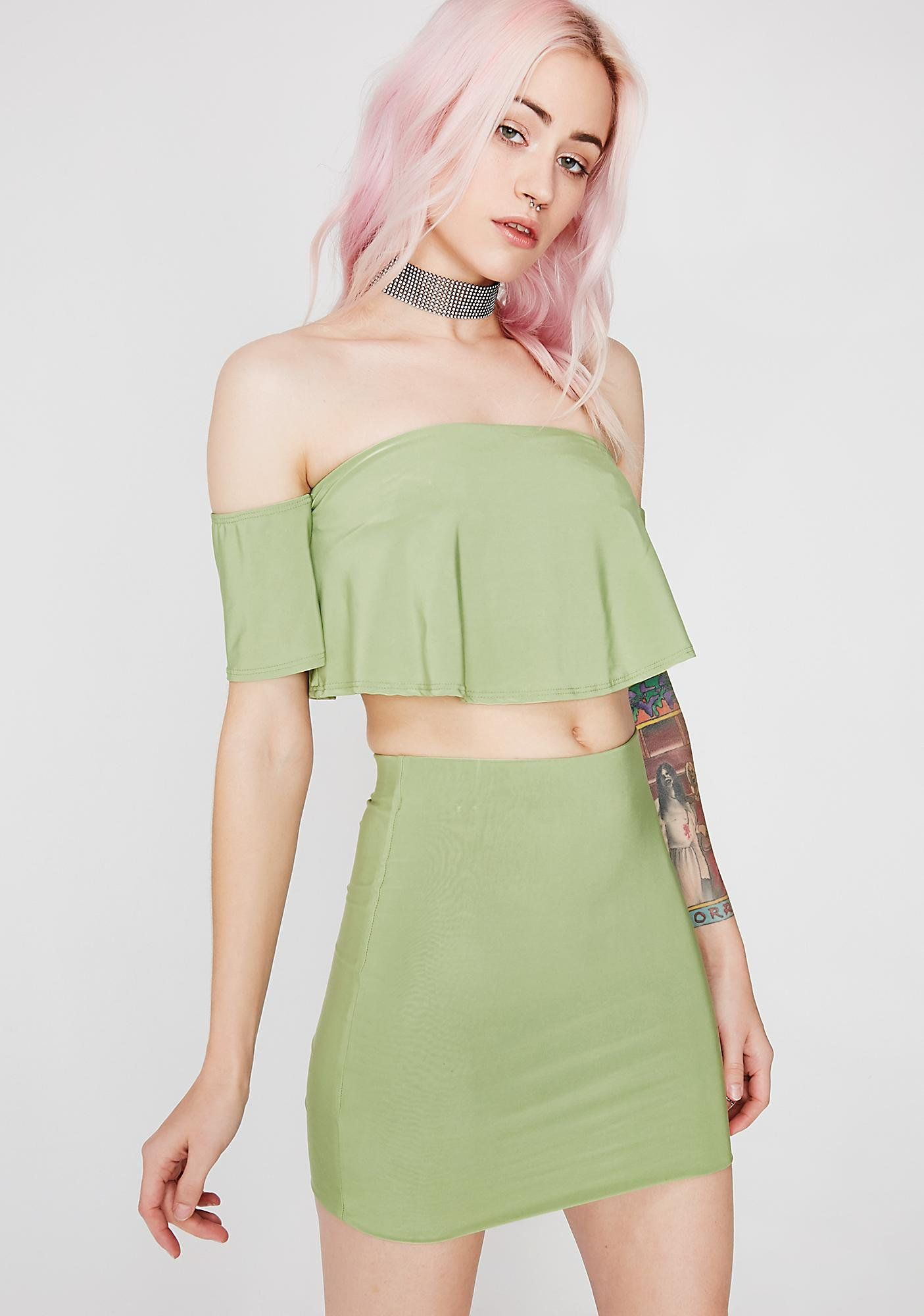 Crop Top Skirt Set  bc5ed58d5