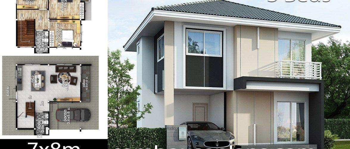 House Plans Idea 7x8 With 3 Bedrooms House Plans 3d In 2020 Duplex House Design 4 Bedroom House Plans Bedroom House Plans
