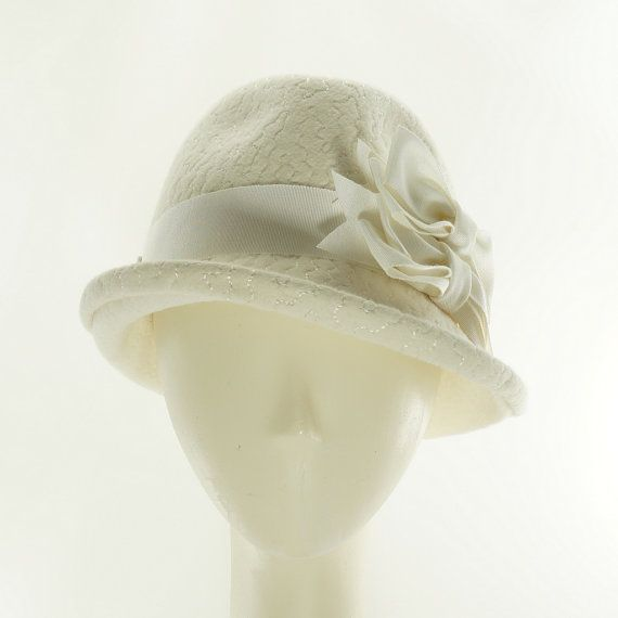 Wedding WOMENS FEDORA   Winter White Felt Hat by TheMillineryShop ... 5cde46bf766