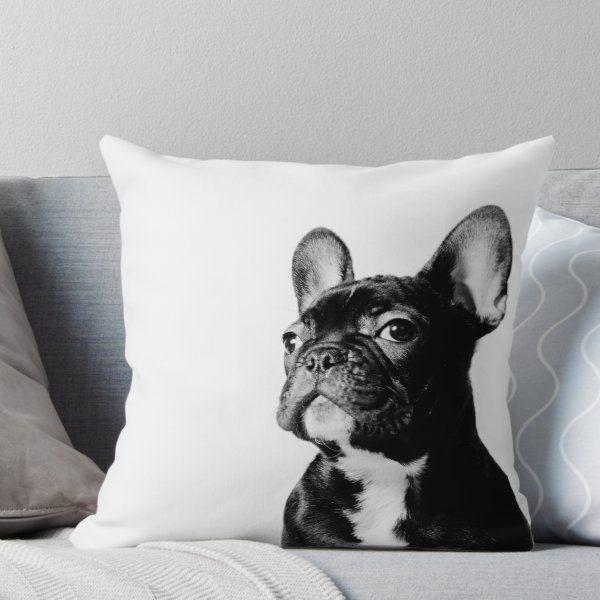 French Bulldog Black & White Pillow Throw Pillow #frenchbulldogfullgrown