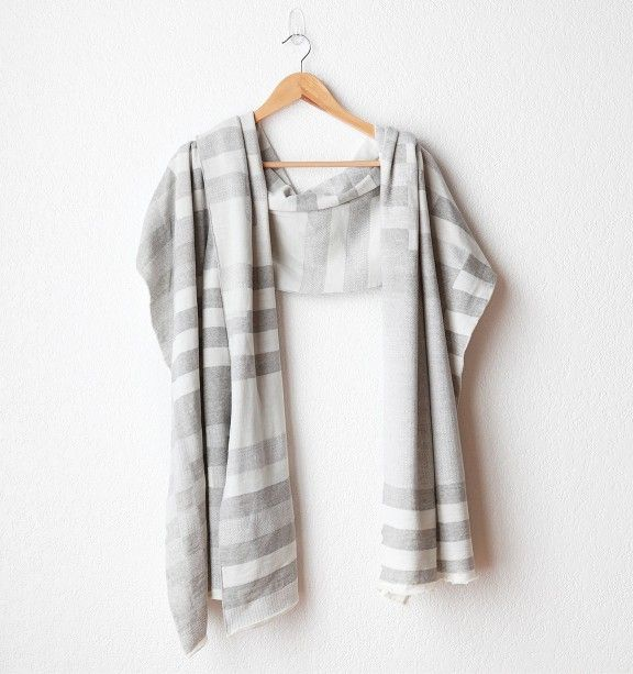 Josef & Anni Shawl in Grey and Cream - The Collections / Mavenhaus Collective