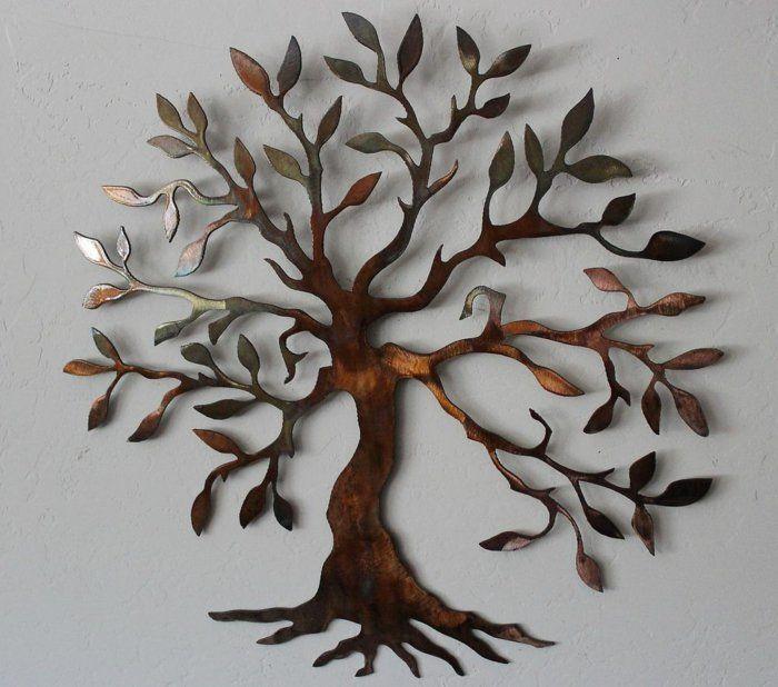 Décoration murale en métal sculpture sur métal arbre