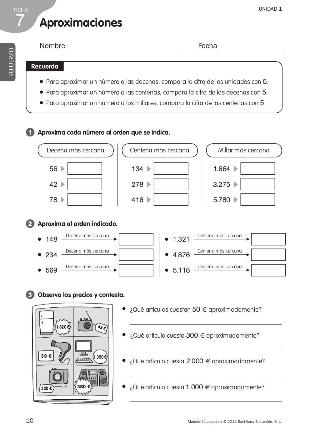 Refuerzo Matematicas 4o De Primaria