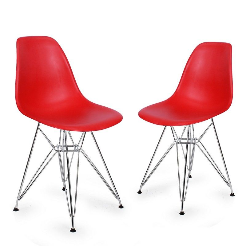 Adeco Red Charles & Ray Eame Modern Dining Chairs with