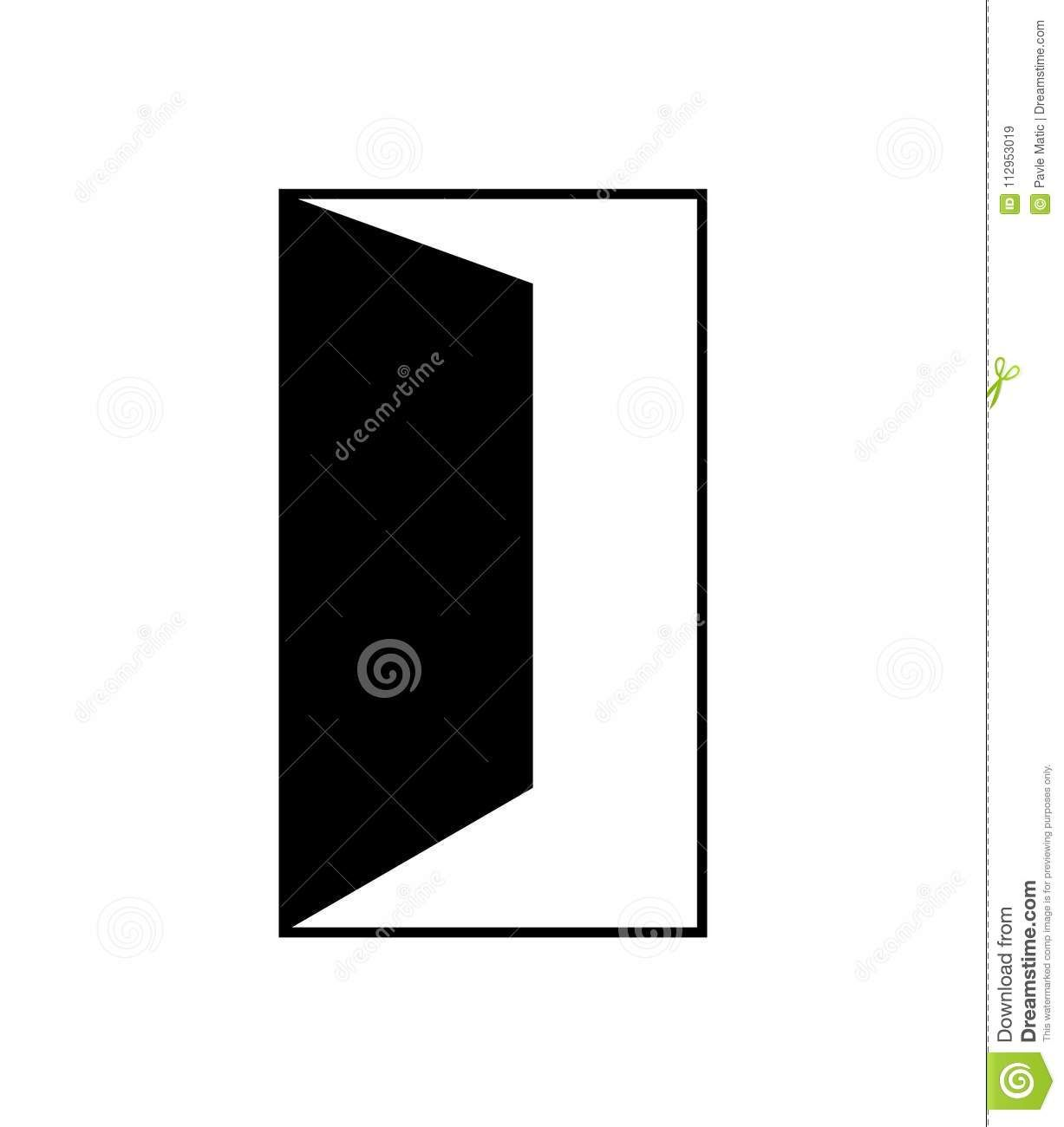 Simple Black Open Door Icon Stock Illustration Illustration Of Linear Exit 112953019 Sliding Door Design Contemporary Garage Doors Room Door Decorations