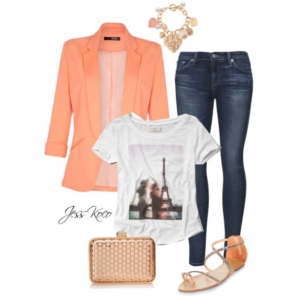 Peachy in Paris by jesskoco on Polyvore featuring polyvore, fashion, style, Abercrombie & Fitch, Quiz, AG Adriano Goldschmied and La Regale