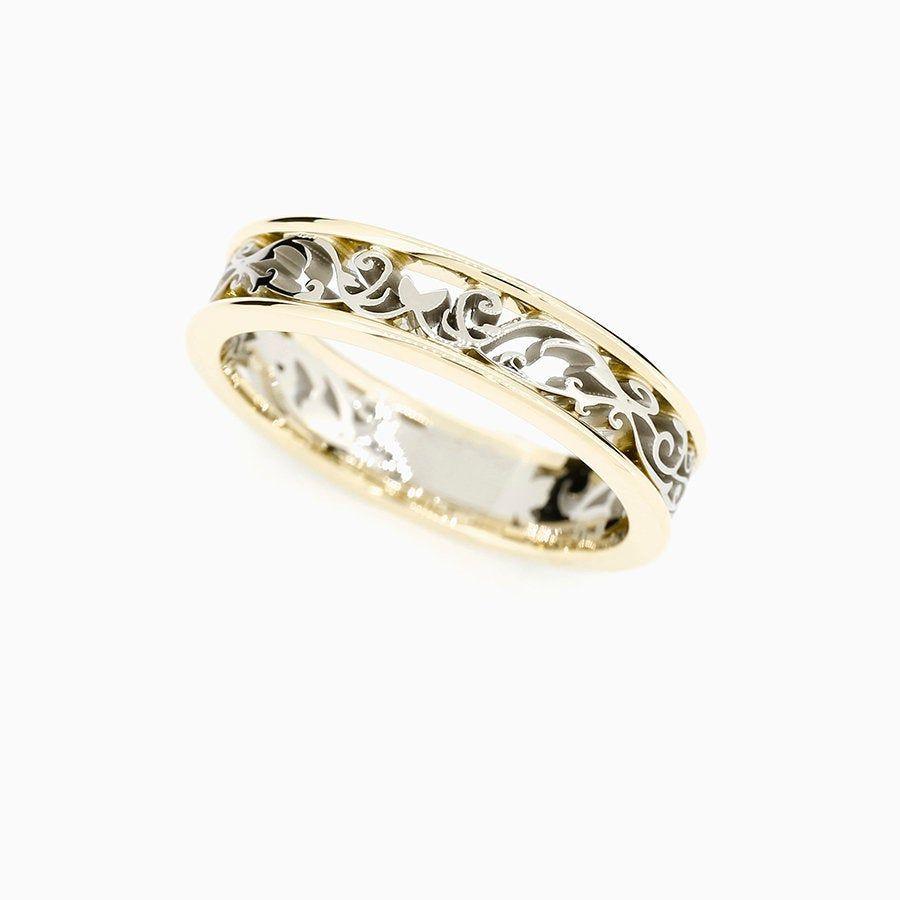 Two Tone Filigree Wedding Band White Gold Yellow Gold No Stones Filigree Ring Wedding Ring S Filigree Wedding Band Filigree Engagement Ring Wedding Rings
