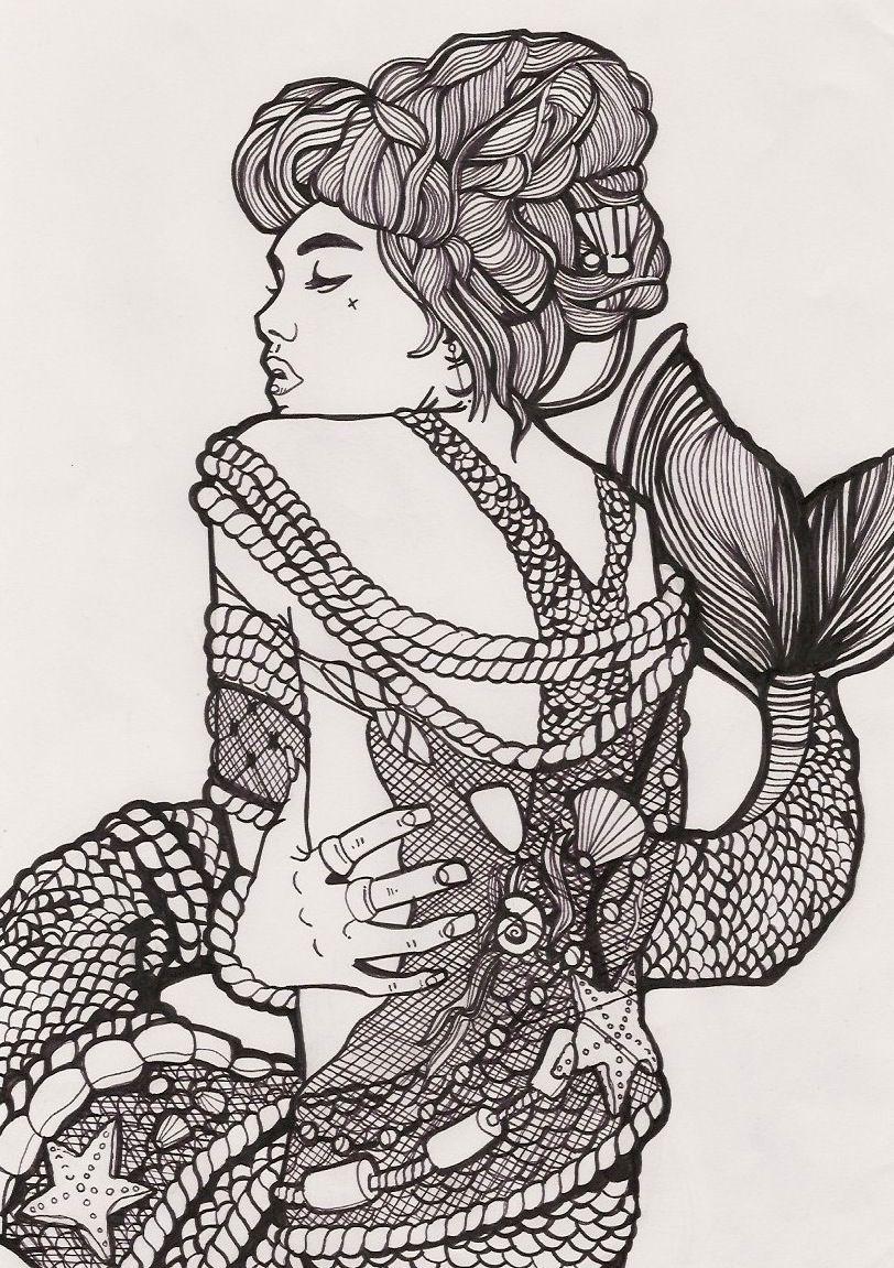 Ross Godfrey Mermaid Line Drawing Rossgodfrey.tumblr.com ...