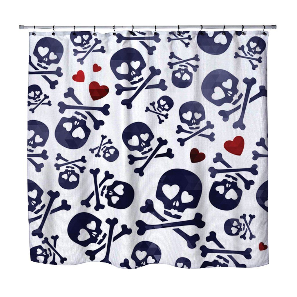 Whimsical Skulls And Crossbones Shower Curtain From Kids Bedding