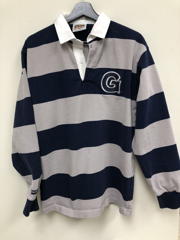 baeb1ac4e5cd Vintage Barbarian Rugby Georgetown University LS Polo Striped Shirt ...