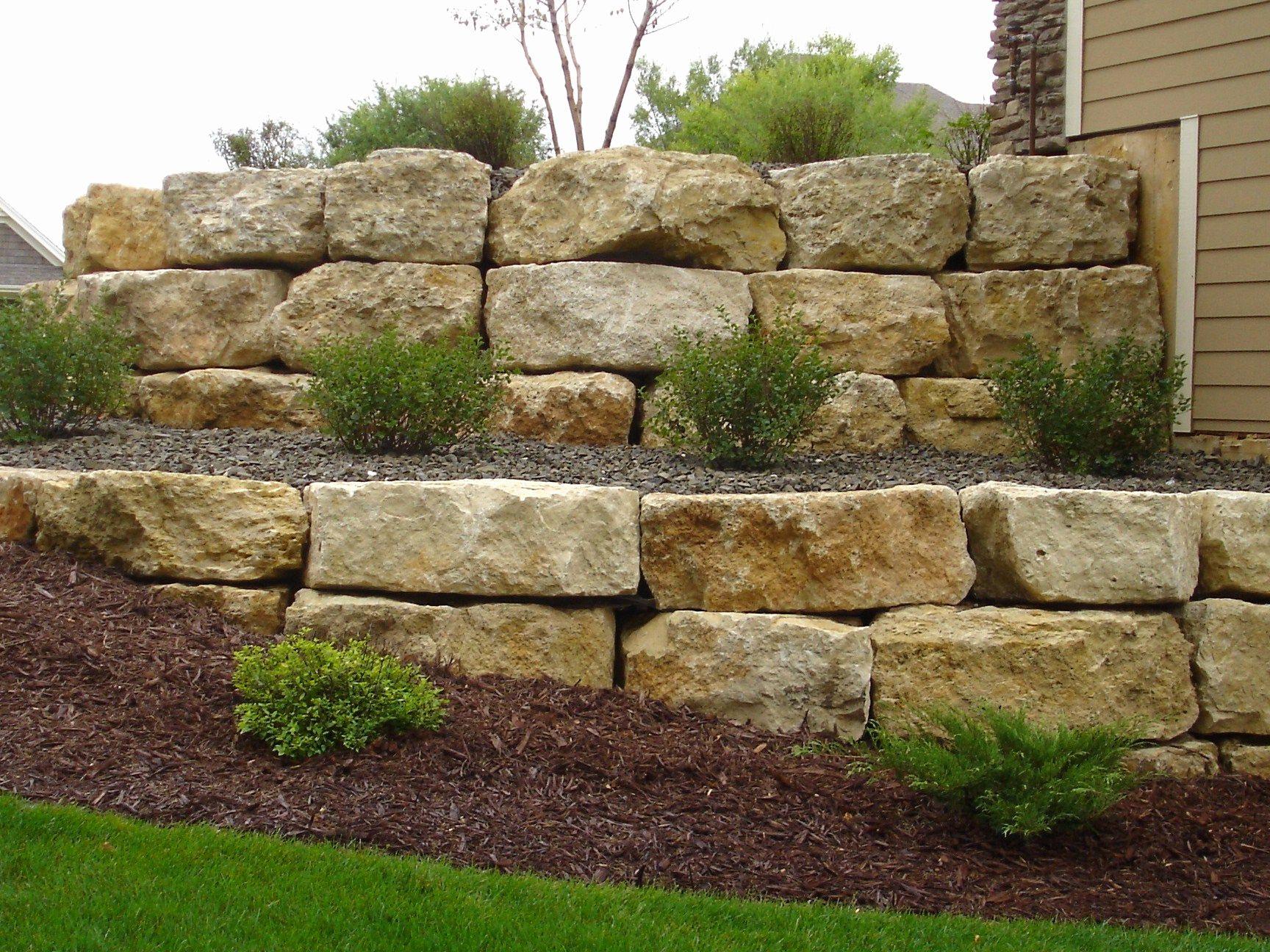 Nice Landscaping Boulders 4 Limestone Boulder Retaining Wall Landscaping Retaining Walls Landscape Design Hillside Landscaping