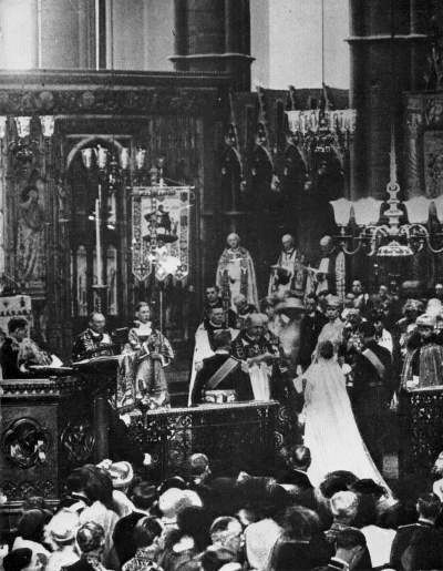 Duke of York married to Lady Elizabeth Bowes-Lyon at westminster abbey