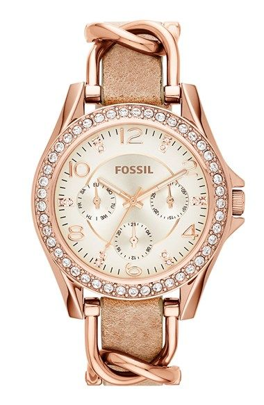 3b06c976b152 Fossil  Riley  Crystal Bezel Multifunction Leather Strap Watch