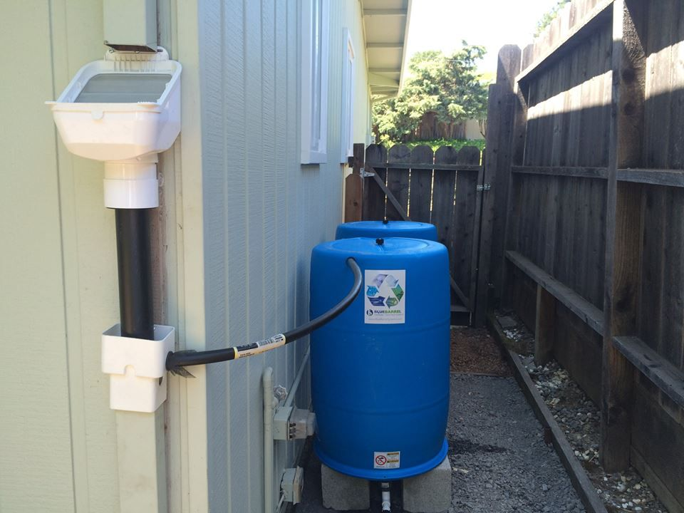 LeafEater screener attached to two blue water barrels.