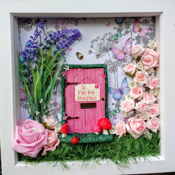 Fairy door wall art fairy garden scene box frame for Fairy door for wall