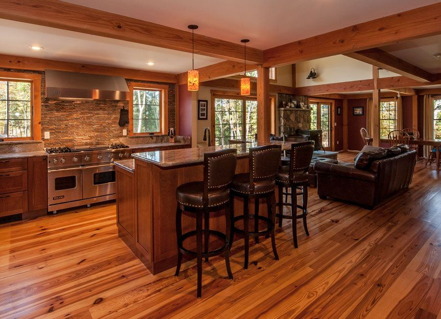 Charming Post And Beam Farmhouse #7: Now THIS Is A Farmhouse! Post And Beam Farmhouse Has A Completely Open  Floor Plan