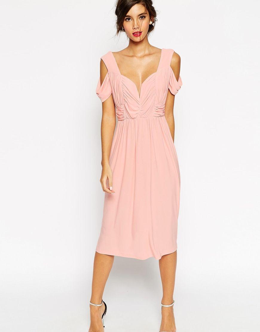 Image 1 of ASOS WEDDING Cold Shoulder Ruched Midi Dress | Fête en l ...
