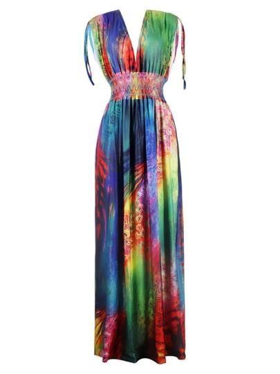 9cba9f5aff Womens V Neck Color Block Maxi Dress