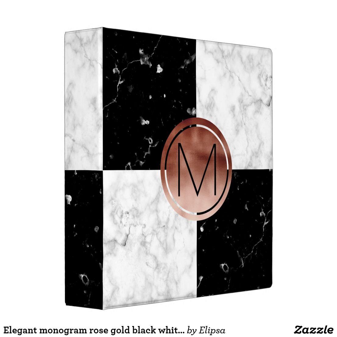 Elegant Monogram Rose Gold Black White Marble Binder