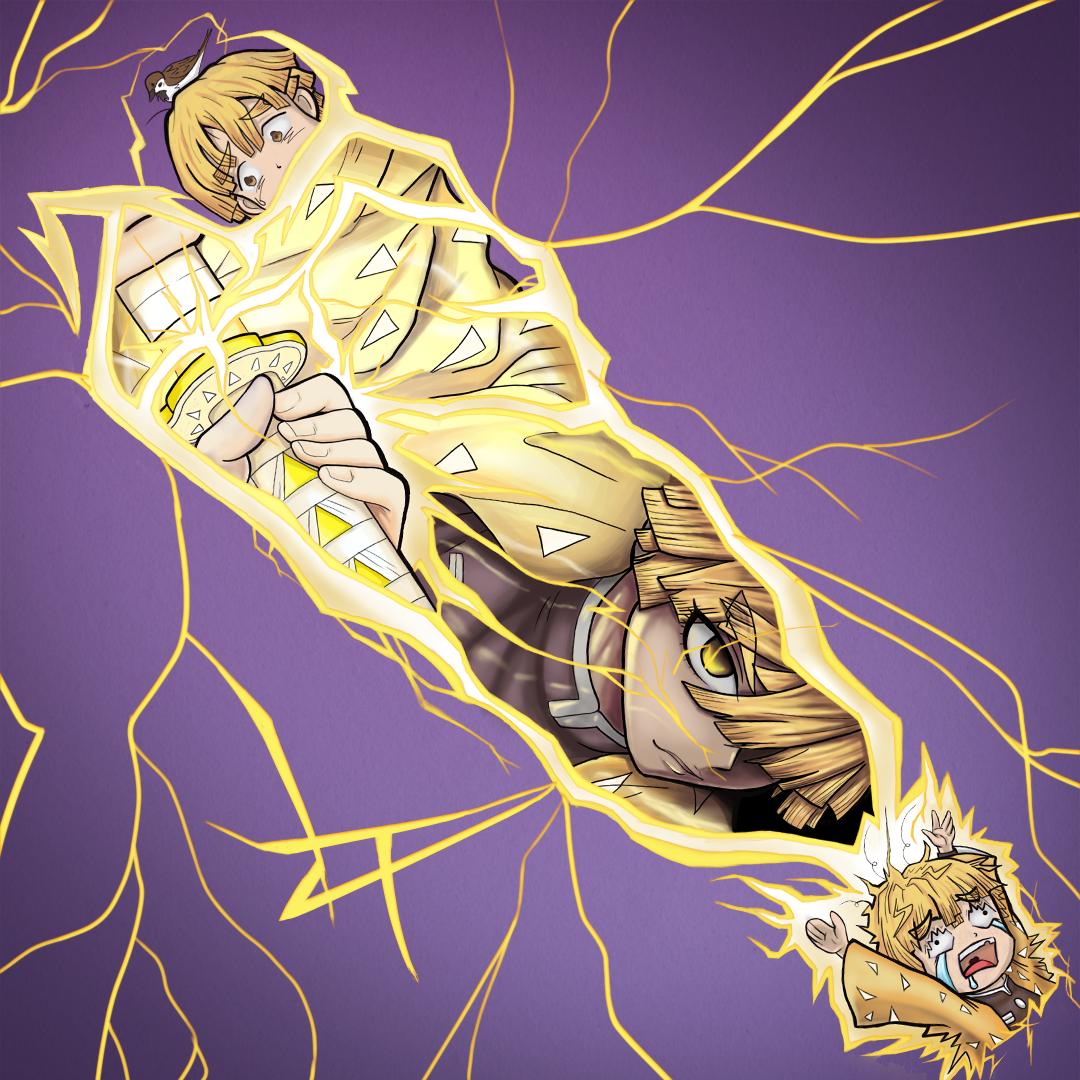 Zenitsu Design Tattoo Desenho Anime Ilustração