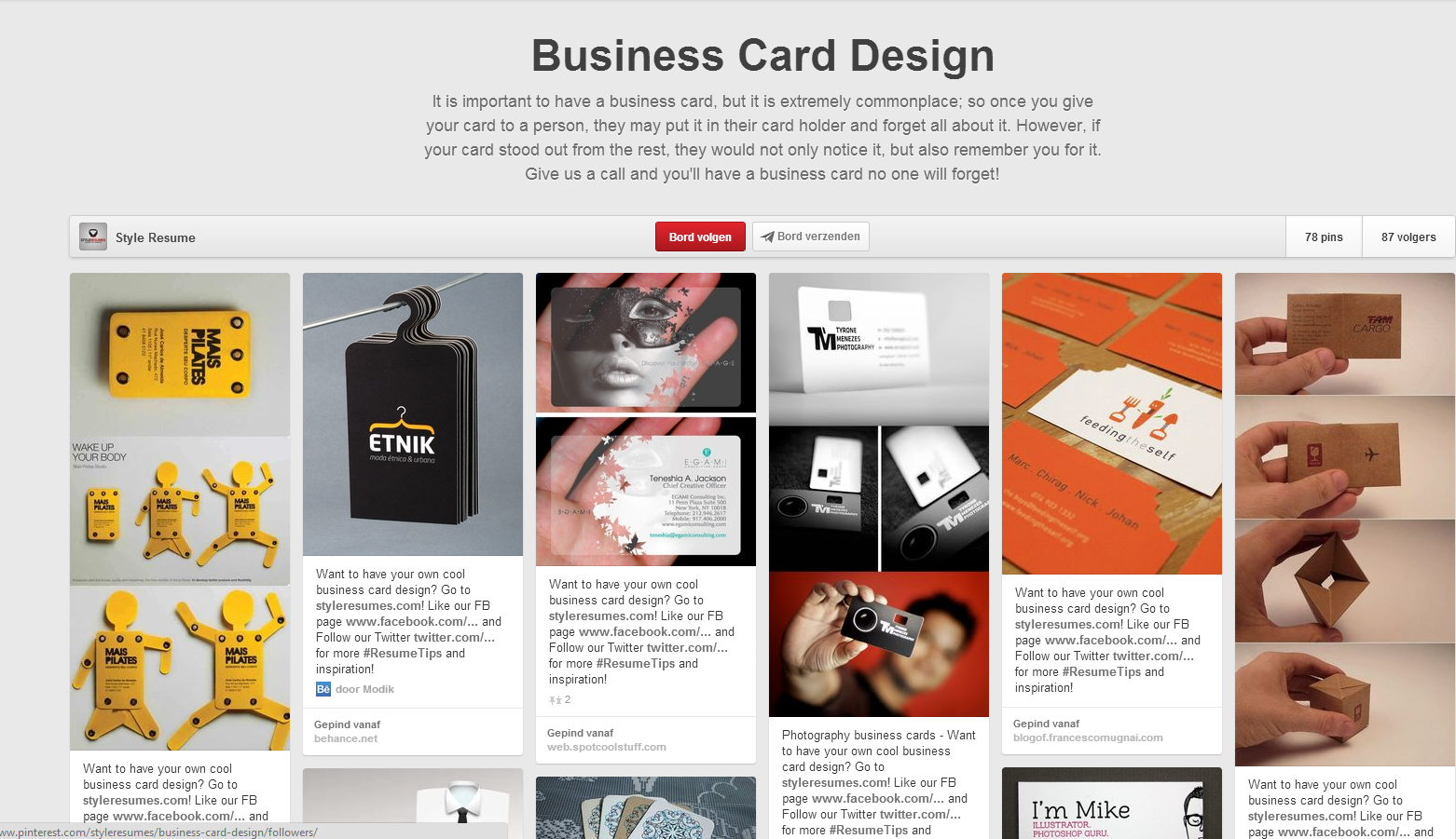 http://www.pinterest.com/styleresumes/business-card-design/