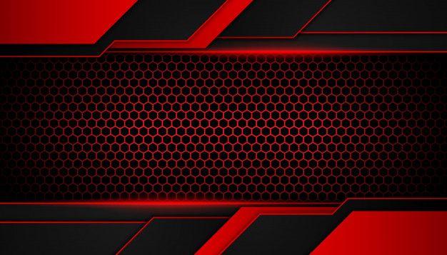 Abstract Red Light On Hexagon Dark Background In 2020 Dark