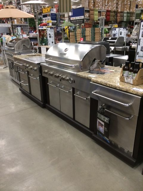 Outdoor kitchen at Lowes | Outdoor kitchen cabinets, Basic ...