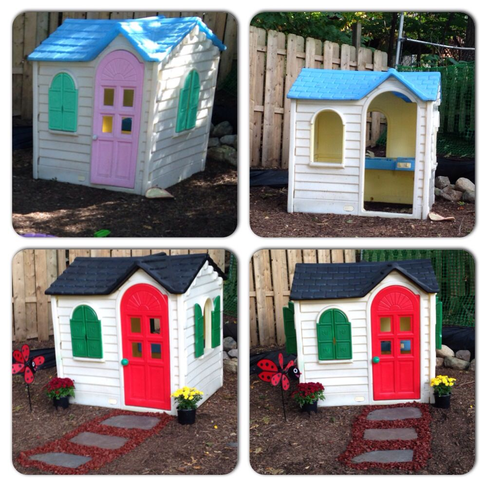 Step 2 Playhouse Makeover This Diy Was Rather Easy To Do We Found This Playhouse For Free On The Curb Gave It A Good Outdoor Toys Outdoor Kids Play Houses