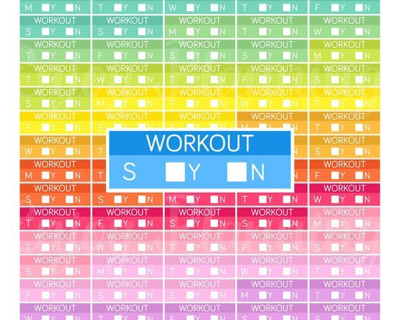 Printable Weekly Workout Planner Stickers Workout Planner Stickers