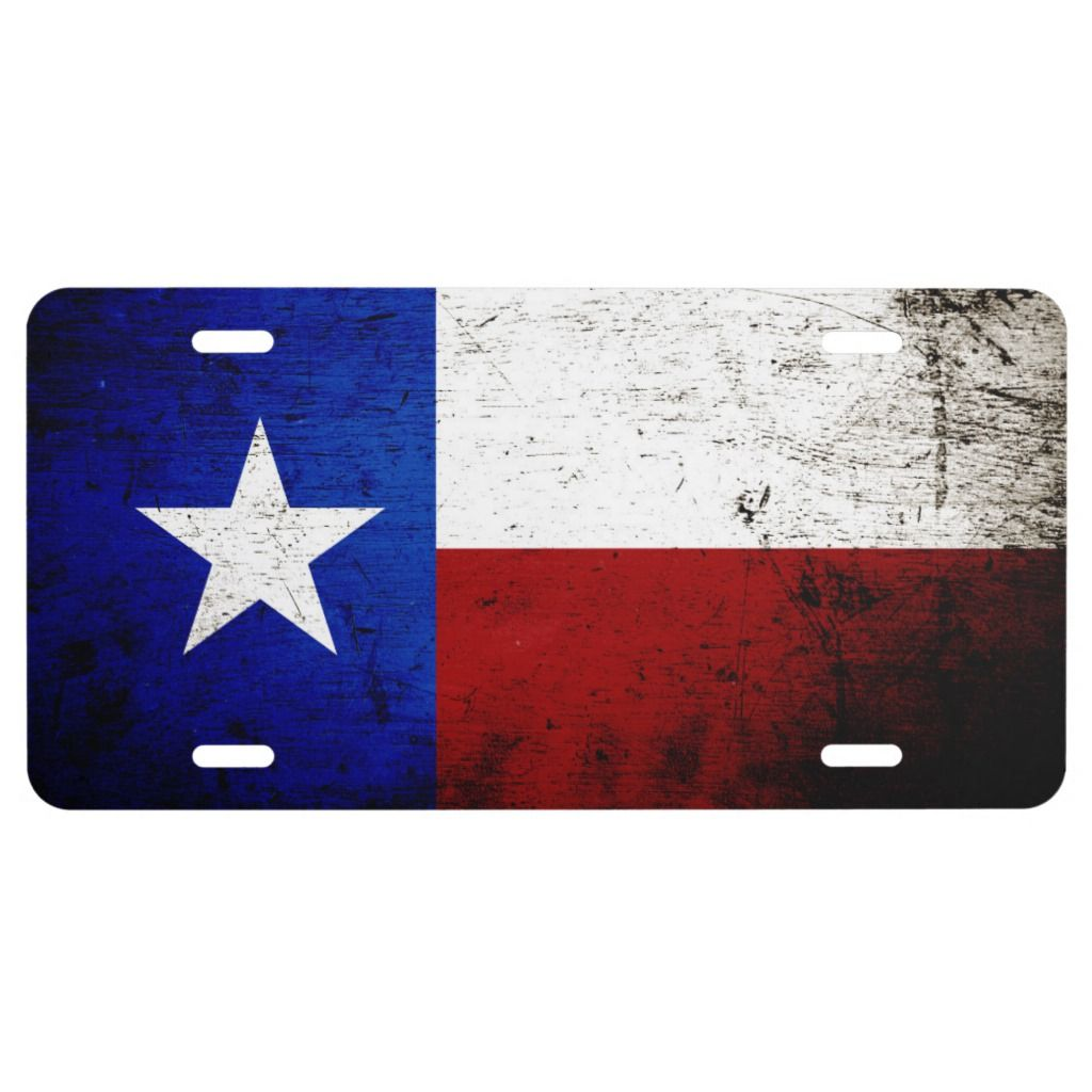 Black Grunge Texas State Flag License Plate Zazzle Com Texas State Flag Black Grunge Custom Front License Plates
