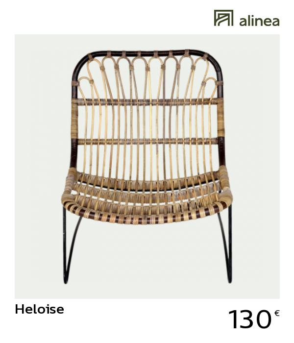 alinea decoration heloise fauteuil en rotin et métal