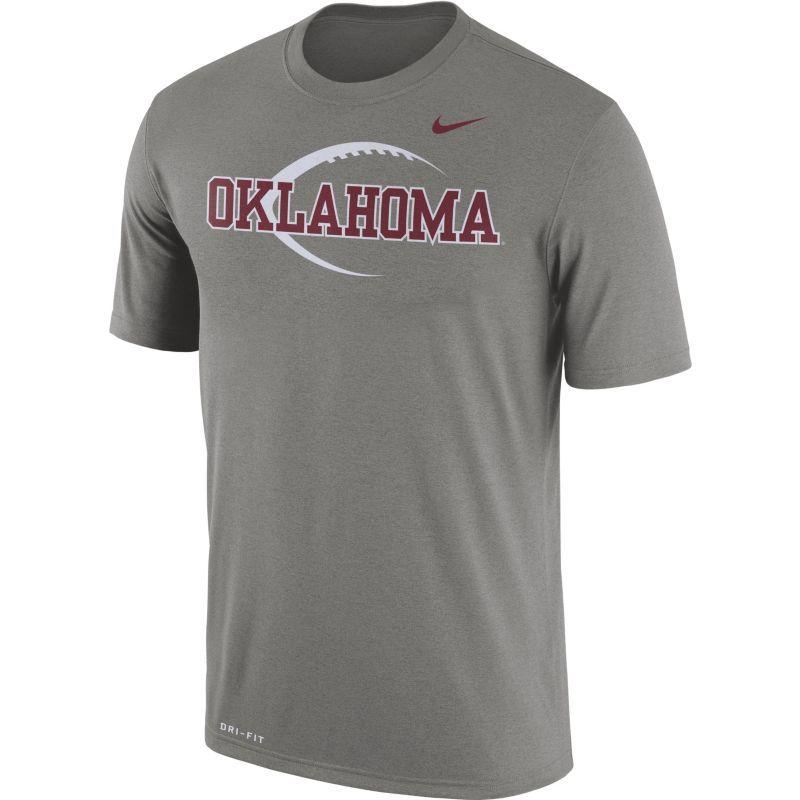 Nike Men's Oklahoma Sooners Grey Football Icon Legend T-Shirt, Size: Medium