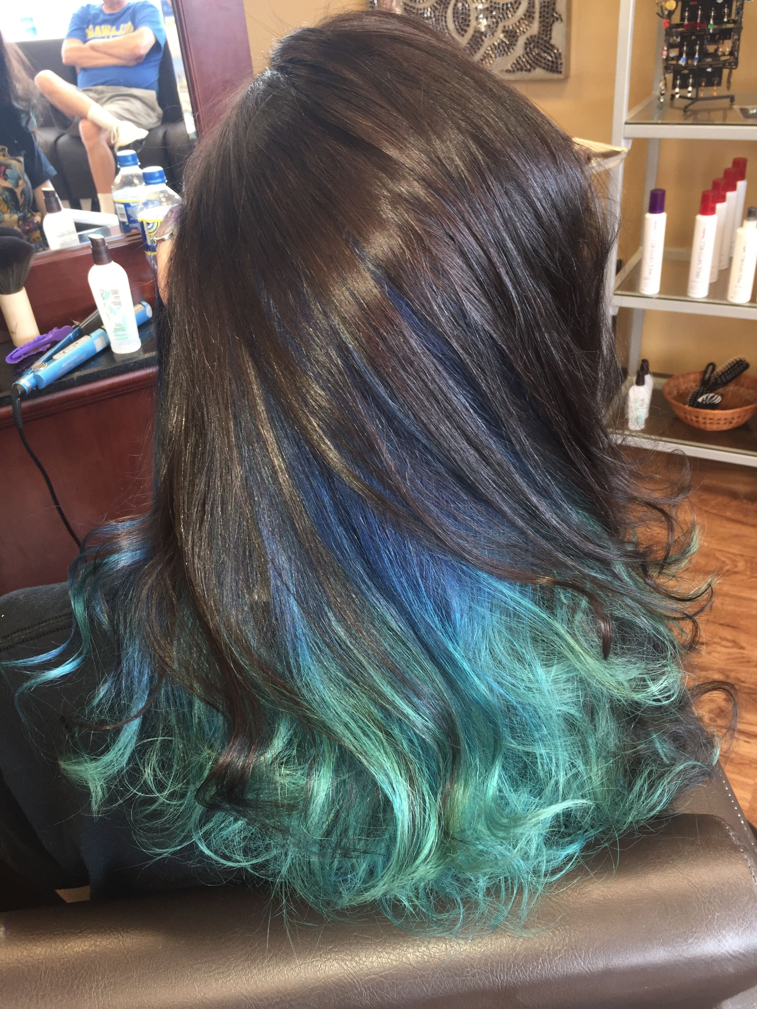 Dark Brown With Blue Ombre Underneath Edgy Hair Edgy Hair Color Blue Hair Underneath