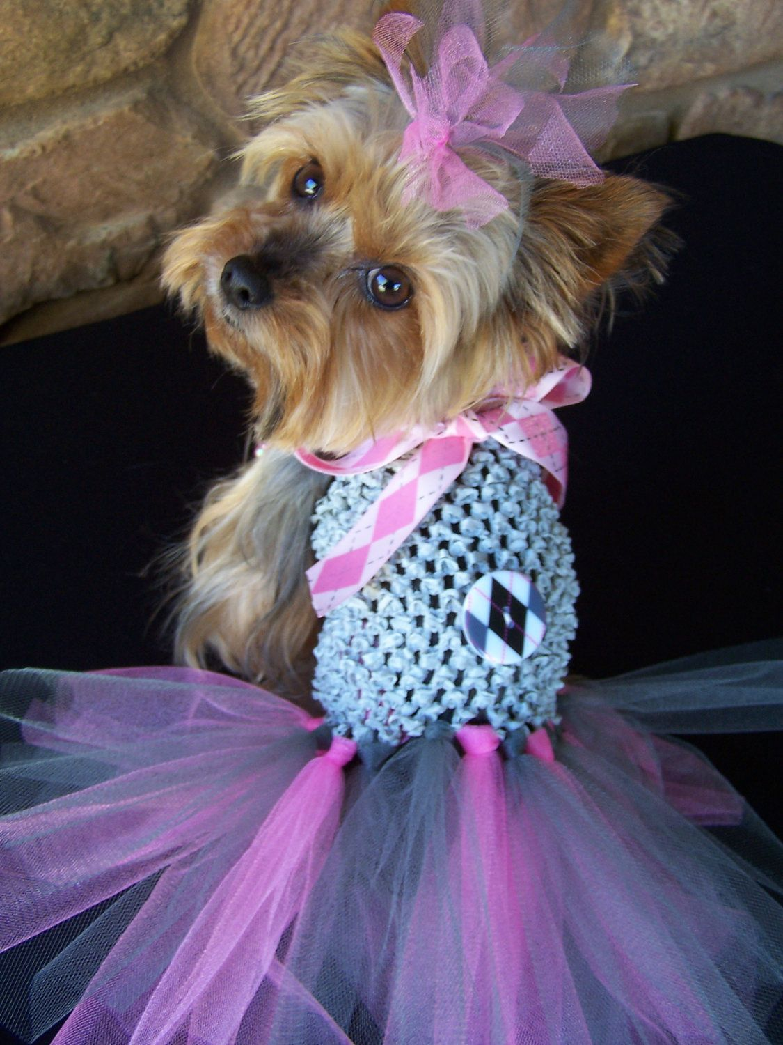 Pink and grey argyle Crochet Doggie TuTu dress Hair by Frillypaws