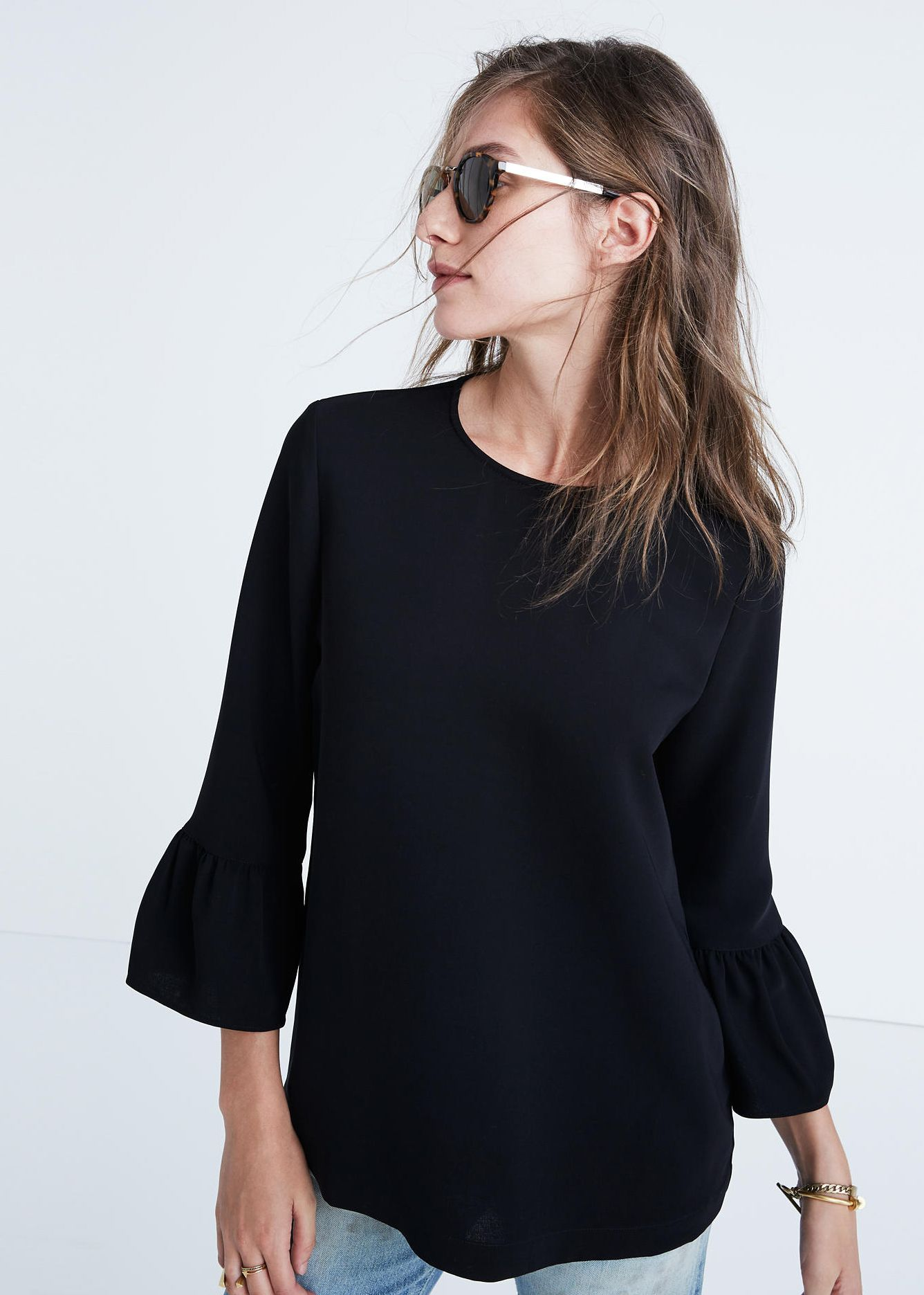 madewell black bell-sleeve top