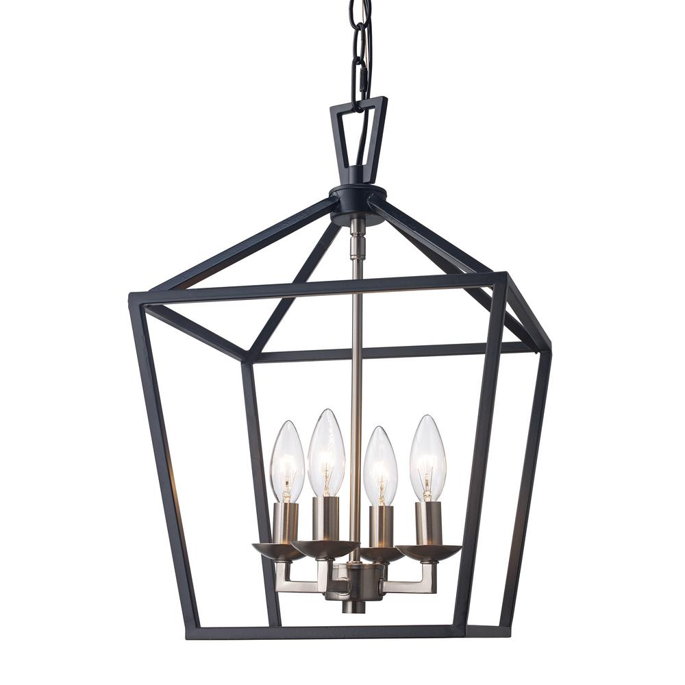 Bel Air Lighting Lacey 4-Light Black and Brushed Nickel ...