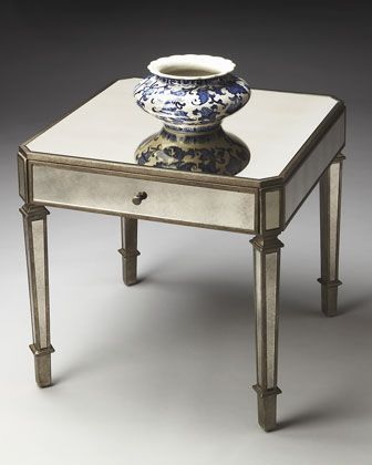 Amber Mirrored Accent Table Con Imagenes Muebles