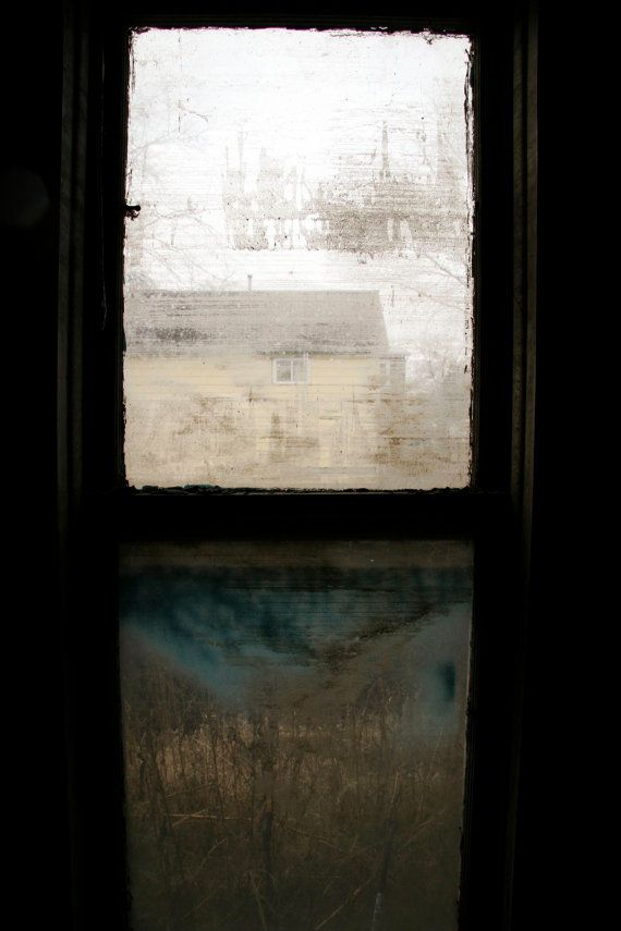 Color Photograph of Window From Flood-Ruined Home
