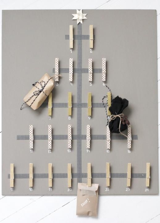 This would be a neat and easy way to make Christmas card displays. Or a DIY Christmas Advent calendar...