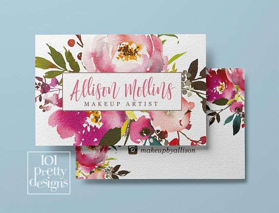 Floral Business Card Design Watercolor Business Card Flowers Floral Business Cards Florist Business Card Watercolor Business Cards