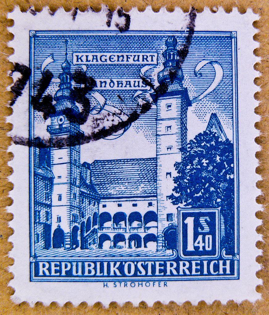 Old Austrian Stamp Austria 140 S Postage Klagenfurt Celovec Landhaus Provincial Diet