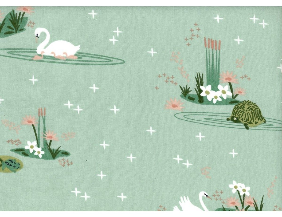 Birch Swan Lake Main Mint With Lily Pads, Turtles, and