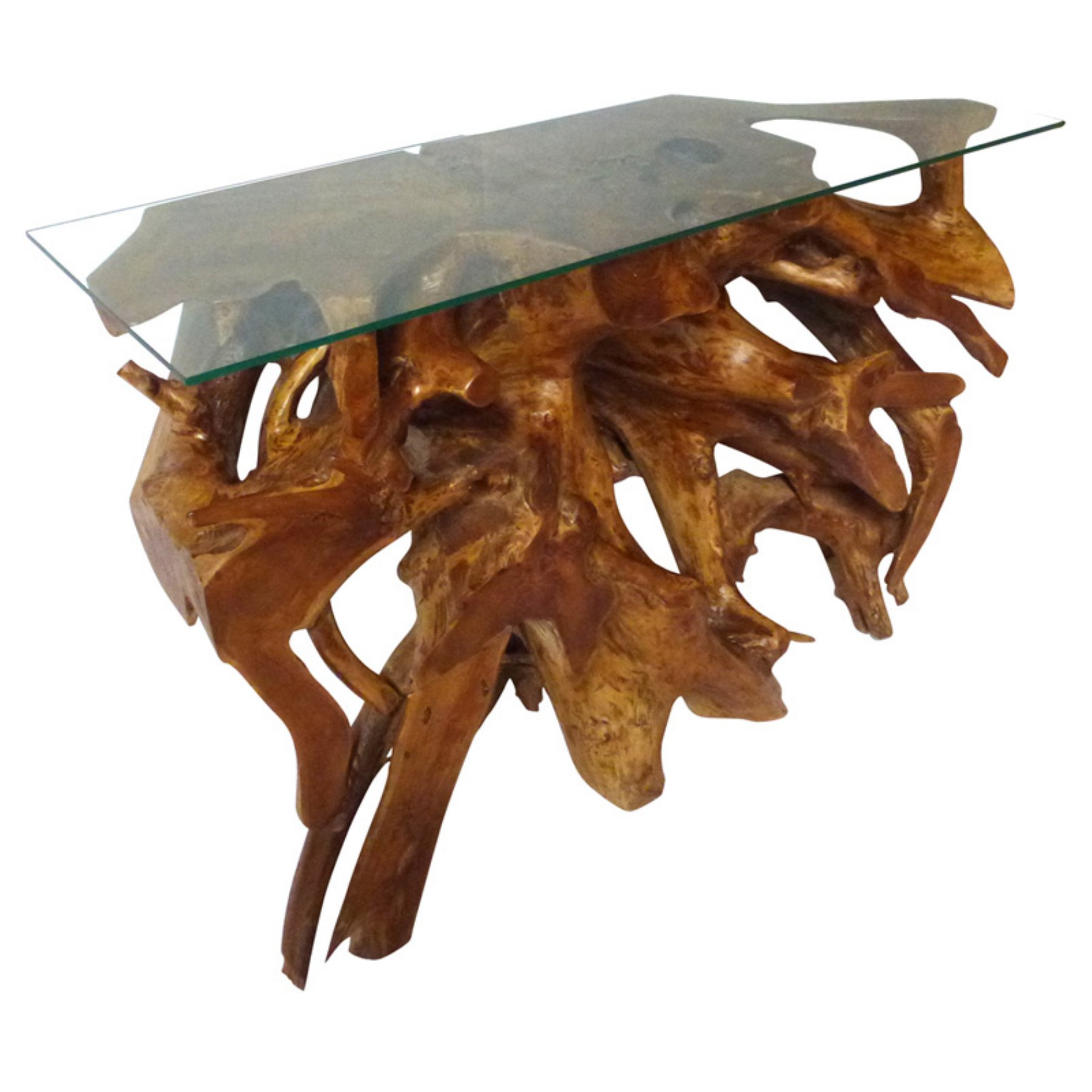 Chic Teak 48 In Gl Top Root Console Table 2019
